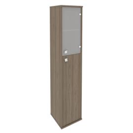 Шкаф для документов высокий узкий правый (1 средняя дверь ЛДСП, 1 низкая дверь стекло) STYLE Л.СУ-1.7Пр Вяз Благородный 412х410х1980, Цвет товара: Вяз благородный темный