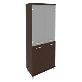 Шкаф для документов высокий широкий (2 низкие двери ЛДСП, 2 средние двери стекло) FIRST KST-1.2 800*430*2060 Венге, Цвет товара: Венге Цаво
