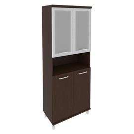 Шкаф для документов высокий широкий (2 низкие двери ЛДСП, 2 низкие двери стекло в раме) FIRST KST-1.4R 800*430*2060 Венге, Цвет товара: Венге Цаво