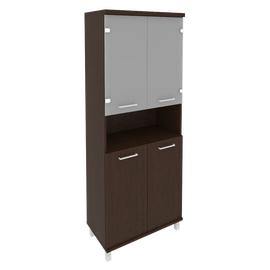 Шкаф для документов высокий широкий (2 низкие двери ЛДСП, 2 низкие двери стекло)FIRST KST-1.4 800*430*2060 Венге, Цвет товара: Венге Цаво