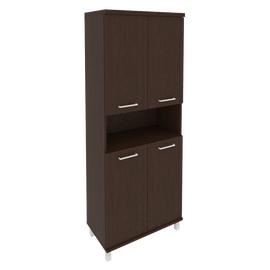 Шкаф для документов высокий широкий (4 низкие двери ЛДСП) FIRST KST-1.5 800*430*2060 Венге, Цвет товара: Венге Цаво