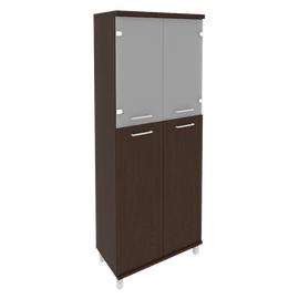 Шкаф для документов высокий широкий (2 средние двери ЛДСП, 2 низкие двери стекло) FIRST KST-1.7 800*430*2060 Венге, Цвет товара: Венге Цаво
