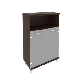 Шкаф для документов средний широкий (2 низкие двери стекло)FIRST KST-2.2 800*430*1260 Венге, Цвет товара: Венге Цаво