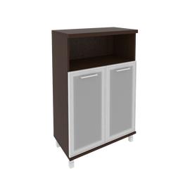 Шкаф для документов средний широкий (2 низкие двери стекло в раме) FIRST KST-2.2R 800*430*1260 Венге, Цвет товара: Венге Цаво