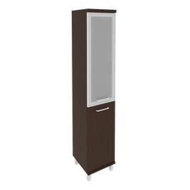 Шкаф для документов высокий узкий левый (1 низкая дверь ЛДСП, 1 средняя дверь стекло в раме) FIRST KSU-1.2L 401*432*2060 Венге, Цвет товара: Венге Цаво