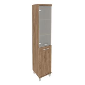 Шкаф для документов высокий узкий левый (1 низкая дверь ЛДСП, 1 средняя дверь стекло)FIRST KSU-1.2 L 400*430*2060 Дуб Табак, Цвет товара: Дуб табак