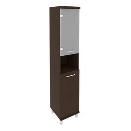 Шкаф для документов высокий узкий левый/правый (1 низкая дверь ЛДСП, 1 низкая дверь стекло) FIRST KSU-1.4 401*432*2060 Венге, Цвет товара: Венге Цаво