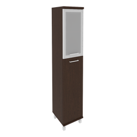 Шкаф для документов высокий узкий левый/правый (1 средняя дверь ЛДСП, 1 низкая дверь стекло в раме)FIRST KSU-1.7R 400*430*2060 Венге, Цвет товара: Венге Цаво