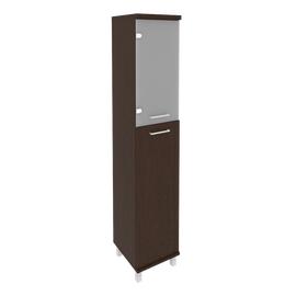Шкаф для документов высокий узкий левый/правый (1 средняя дверь ЛДСП, 1 низкая дверь стекло) FIRST KSU-1.7 400*430*2060 Венге, Цвет товара: Венге Цаво