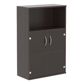 Шкаф для документов средний ( с малыми стеклянными дверьми ) IMAGO SKYLAND СТ-2.2 Венге Магия 770х365х1200, Цвет товара: Венге магия