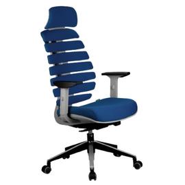 Компьютерное кресло для руководителя Riva Chair Shark Серый пластик/Синяя ткань (26-21), Цвет товара: Синий