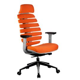 Компьютерное кресло для руководителя Riva Chair Shark Серый пластик/Оранжевая ткань (26-29), Цвет товара: Оранжевый