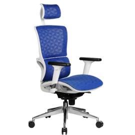 Офисное кресло Riva Chair А8 белый пластик, синяя сетка