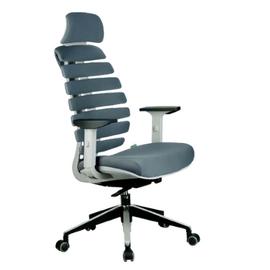 Компьютерное кресло для руководителя Riva Chair SHARK Серый пластик/Серая ткань (26-25), Цвет товара: Cерый