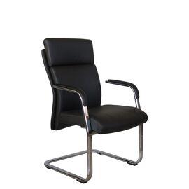 Офисное кресло для посетителей Riva Chair С1511 нат.кожа черный (А8), Цвет товара: Черный