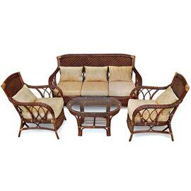 """Комплект для отдыха """"ANDREA"""" (диван + 2 кресла + журн. столик со стеклом + подушки) TetChair, Цвет товара: Античный орех"""