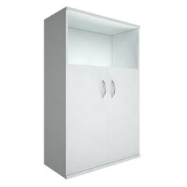 Шкаф для документов для документов средний широкий (2 низкие двери ЛДСП) RIVA А.СТ-2.1 Белый 770х365х1215, Цвет товара: Белой