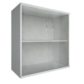 Шкаф для документов низкий широкий (2 низкие двери стекло) RIVA А.СТ-3.2 Белый 770х365х828, Цвет товара: Белый