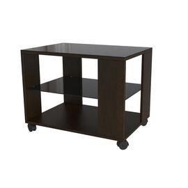 Стол журнальный BeautyStyle 5 Mebelik Венге /Черное стекло 650х450х560, Цвет товара: Венге/Черное стекло