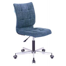 Компьютерное кресло Бюрократ CH-330M/LT-27 без подлокотников темно-синий крестовина металл, Цвет товара: Темно-синий / Хром