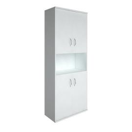 Шкаф для документов высокий широкий (4 низкие двери ЛДСП) RIVA А.СТ-1.5 Белый 770х365х1980, Цвет товара: Белый