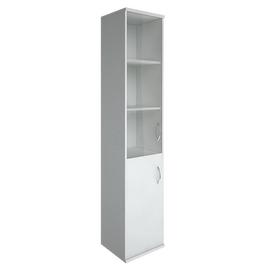 Шкаф для документов высокий узкий левый (1 низкая дверь ЛДСП, 1 средняя дверь стекло) RIVA А.СУ-1.2Л Белый 404х365х1980, Цвет товара: Белый