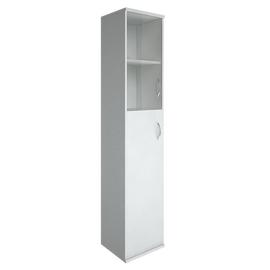 Шкаф для документов высокий узкий левый (1 средняя дверь ЛДСП, 1 низкая дверь стекло) RIVA А.СУ-1.7Л Белый 404х365х1980, Цвет товара: Белый