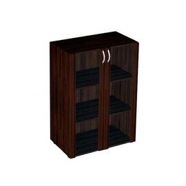 Шкаф для документов средний широкий со стеклом в МДФ Форум арт. FR-5.0.4 800х430х1177, Цвет товара: Венге