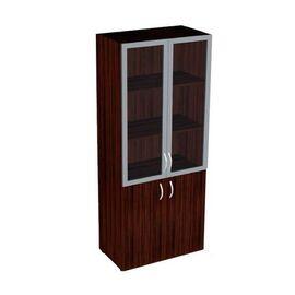 Шкаф для документов широкий со стеклом в алюминиевой раме САТИН Форум арт. FR-6.0.6 800х430х1945, Цвет товара: Венге