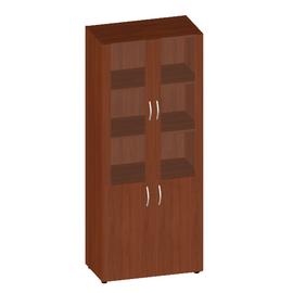 Шкаф для документов высокий низкими дверьми и стеклом в МДФ Консул арт. KN-6.4 800х430х1945