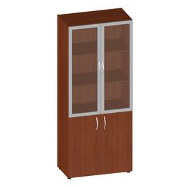 Шкаф для документов высокий низкими дверьми со стеклом сатин Консул арт. KN-6.6 800х430х1945