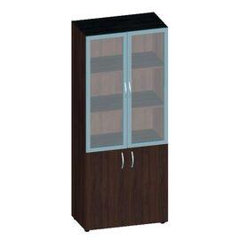 Шкаф для документов высокий низкими дверьми с матовым стеклом Консул лак арт. KNL-6.5 800х430х1945