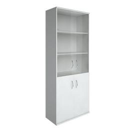 Шкаф для документов высокий широкий (2 низкие двери ЛДСП, 2 средние двери стекло) RIVA А.СТ-1.2 Белый 770х365х1980, Цвет товара: Белый