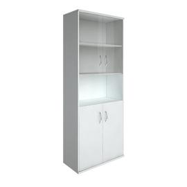 Шкаф для документов высокий широкий (2 низкие двери ЛДСП, 2 низкие двери стекло) RIVA А.СТ-1.4 Белый 770х365х1980, Цвет товара: Белый