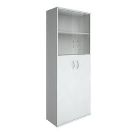 Шкаф для документов высокий широкий (2 средние двери ЛДСП, 2 низкие двери стекло) RIVA А.СТ-1.7 Белый 770х365х1980, Цвет товара: Белый