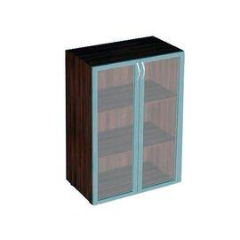 Шкаф для документов средний широкий со стеклом в алюминиевой раме Статус арт. C-5.0.5 800х430х1177, Цвет товара: Венге