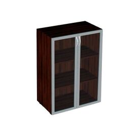 Шкаф для документов средний широкий со стеклом в алюминиевой раме САТИН Статус арт. C-5.0.6 800х430х1177, Цвет товара: Венге
