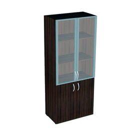 Шкаф для документов широкий со стеклом в алюминиевой раме и низкими дверьми Статус арт. C-6.0.5 800х430х1946, Цвет товара: Венге