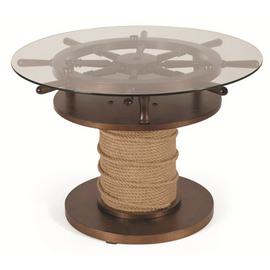 Стол журнальный Штурвал темно-коричневый/стекло прозрачное Mebelik, Цвет товара: Темно-коричневый