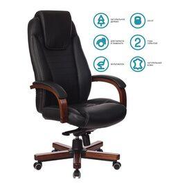 Компьютерное кресло для руководителя Бюрократ T-9923-WALNUT/BLACK черный кожа крестовина дерево, Цвет товара: Черный / Темный орех