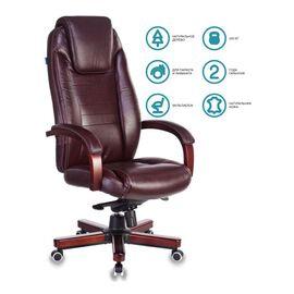 Компьютерное кресло для руководителя Бюрократ T-9923-WALNUT/BROWN коричневый кожа крестовина дерево, Цвет товара: Коричневый/Т.орех