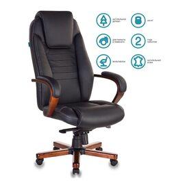 Компьютерное кресло для руководителя Бюрократ T-9923-MAHOGANY/BLACK черный кожа крестовина дерево, Цвет товара: Черный / Махагон