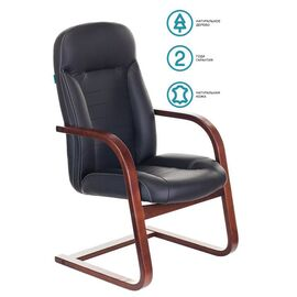 Кресло конференц Бюрократ T-9923-WALNUT-AV/BL  низкая спинка черный кожа, Цвет товара: Черный / Коричневый