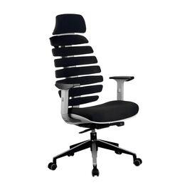 Компьютерное кресло для руководителя Riva Chair Shark Серый пластик/Чёрная ткань (26-28)