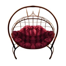 """Кресло подвесное """"Улей"""" ЦВЕТ: Коричневый; ПОДУШКА: БОРДОВАЯ, Цвет товара: Коричневый/Бордо"""