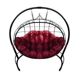 """Кресло подвесное """"Улей"""" ЦВЕТ: ЧЁРНЫЙ; ПОДУШКА: БОРДОВАЯ, Цвет товара: Чёрный / Бордо"""