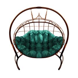 """Кресло подвесное """"Улей"""" ЦВЕТ: Коричневый; ПОДУШКА: ЗЕЛЁНАЯ, Цвет товара: Коричневый/Зелёный"""