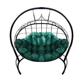 """Кресло подвесное """"Улей"""" ЦВЕТ: ЧЁРНЫЙ; ПОДУШКА: ЗЕЛЁНАЯ, Цвет товара: Чёрный / Зелёный"""