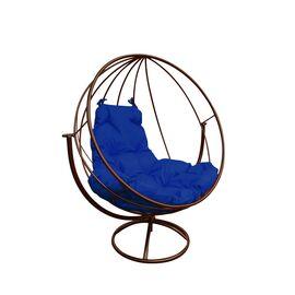 """Вращающееся кресло """"Круглое"""" цвет: Коричневый; подушка: Ультрамарин, Цвет товара: Коричневый/Ультрамарин"""