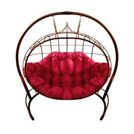 """Кресло подвесное """"Улей"""" ЦВЕТ: Коричневый; ПОДУШКА: МАЛИНОВАЯ, Цвет товара: Коричневый/Малиновый"""